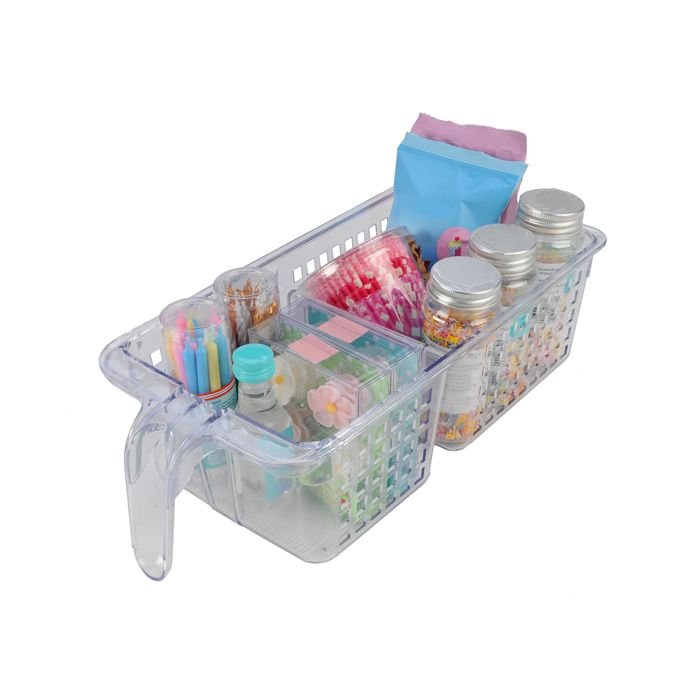 Novo Organisers Kitchen 2 Section Divided Basket Clear