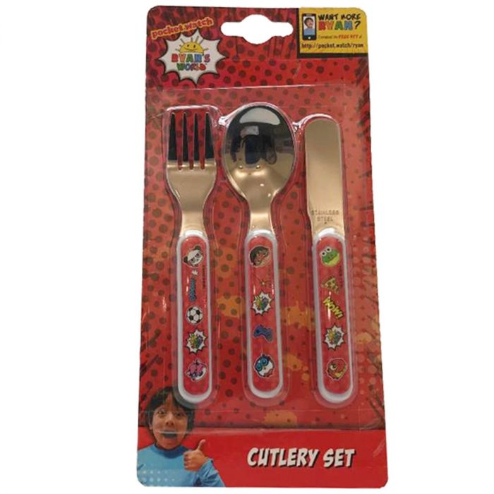 Ryan's World 3pc Stainless Steel Cutlery Set